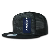5 Panel Flat Bill Trucker Cap - Digital Camo and Black (Decky 1063-NTGBLK, New)