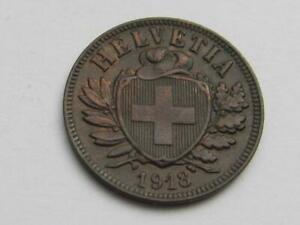 Switzerland 2 Rappen coin dated 1918 - Good filler/collectable coin