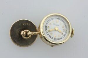 Antique Estate 1940's Cartier Paris 14K Solid Yellow Gold Shirt Cufflink Watch
