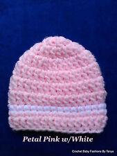 LOOK!  DAINTY PINK REBORN BABY HAT W/WHITE STRIPE - SIZES: PREEMIE, 0-3 MOS