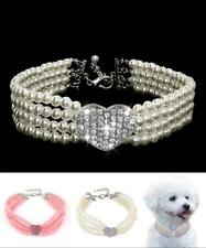 Cat & Dog Pink Heart 3 Strand Pearl Necklace Collar