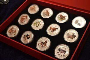 2008-2019 Australia Lunar Series II Colored 1 oz Coins w / Presentation Box