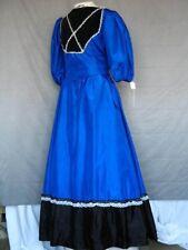 Medieval Renaissance Colonial Fantasy Dress Blue Gown Black Trim
