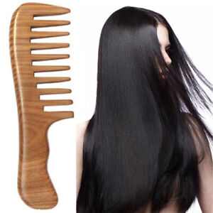 Wooden Wide Tooth Comb Natural Sandalwood Handmade Massage Beauty Hair Care UK
