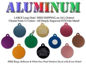 Large Round Disk Pet Dog ID Tags-Custom Engraved Identification Name Tag 11 Colr