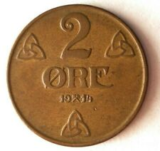 1914 NORWAY 2 ORE - AU - HUGE VALUE - Key Rare Date Coin - Lot #M26
