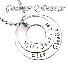 Stainless Steel Personalised Hand Stamped Any Name Necklace Birthday Gift D202
