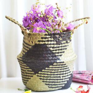 Home Garden Decor Bags Handmade Seagrass Belly Woven Basket Flower Plant Pots