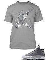 T Shirt to Match Air Jordan 13 Atmosphere Grey Men Pro Club Tee Shirt Big and Sm