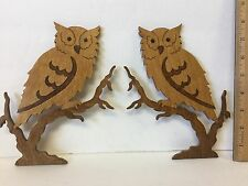 Pair Of Wood Owls Laser Cut Inlaid Wall Decor Carved