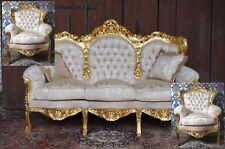 EN PROMOTION: Salon canapé et 2 fauteuils doré à la feuille d'or d'un château