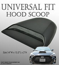 JDM 1 pc Racing Style Black Hood Scoop Sporty Look Universal Fit w/ 3M W18