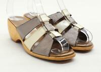 Preworn Womens EU Size 37 Brown Metalic Sandals