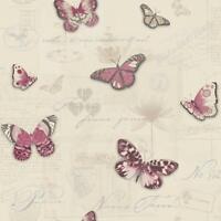 Vintage Butterfly Wallpaper Red Beige Glitter Metallic Silver Typography Holden