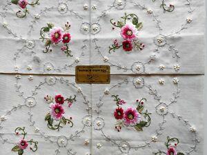 ANTICA TOVAGLIA ricamata a mano fiori + 6 tovaglioli GG biancherie fiorentine