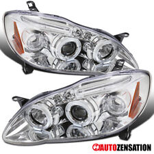 For 2003-2008 Toyota Corolla Clear LED DRL Strip Halo Rims Projector Headlights