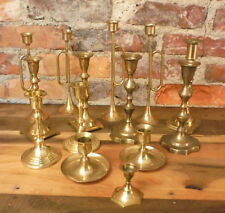 Vintage Lot of 14 Brass Candle Holders Sticks & Candlesticks 6 Pair 2 Singles