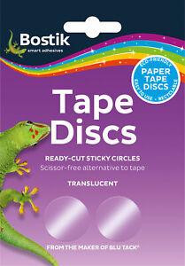 120 x self adhesive Sticky Tape Circles Discs eco translucent easy to use Bostik