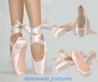 Femme Fille Satin Ballerines Danse Pointe Chaussures Ballet Pointe Shoes Ribbon