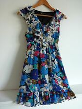Ladies Lovely Blue Mix Floral Tassel Thigh Length Party Dress Size 10, Vgc