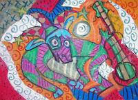ACEO Jester Goat Unwrapped Pop Folk Art Print 2.5 x 3.5 Miniature KSams Guitar