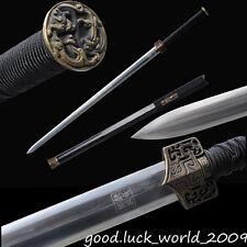 Boutique Chinese Longquan Sword Han Jian Pattern Steel Copper Fitting Ebony #281