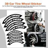 Car Tire English Letter Stickers Motorcycle Bike Wheel Decoration 3D Sticker