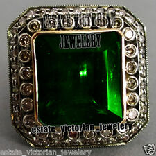 Diamond Emerald Studded Silver Ring Jewelry Vintage Style 3.65Cts Pave Rose Cut