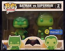 BATMAN VS. SUPERMAN 2 pack Funko Pop! wal-mart exclusive glow in the dark gitd