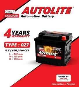 CAR BATTERY AUTOLITE TYPE 027 075 12V 62AH 540CCA HIGH POWER 4 YEAR WARRANTY MF