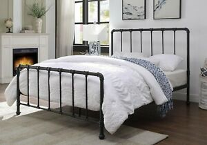 Boston Black Metal Bed Frame Antique Industrial Style Double King Size