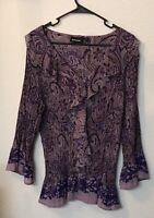 Avenue Size 18/20 Purple Ruffle Paisley Button Down 3/4 Bell Sleeve Blouse Top