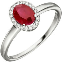 Ring Damenring mit Rubin rot oval & 20 Diamanten Brillanten, 585 Gold Weißgold