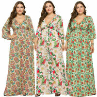 Women BOHO Long Evening Party Cocktail Prom Floral Summer Beach Maxi Dress Plus