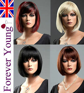 Ladies Short Wig Black Brown Blonde Red Wig Brush Bob Style Fashion Full Wigs