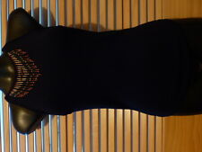 Blue Juice  Black  Rayon/Nylon Knit Top  Small  Bead Trim Detail On Neckline $10