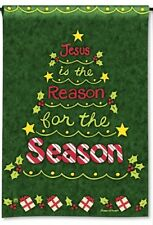 """JESUS IS THE REASON FOR THE SEASON Christmas Tree 12.5"""" x 18"""" Small Banner Flag"""