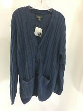 CROFT & BARROW MENS CABLE KNIT CARDIGAN SWEATER LIGHT NAVY MEDIUM NWT