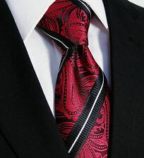 de luxe Cravate hommes - mariage floral soie italienne - Rouge Blanc Noir