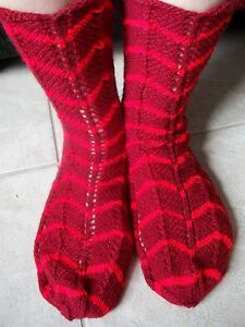 Hand knitted lace pattern zig zag socks, deep red
