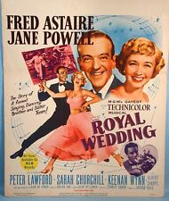 1951 Fred Astaire Royal Wedding Original Movie Poster MGM Musical Jane Powell
