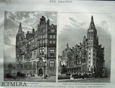 """Antique Engraved Print 1887 - """"New National Liberal Club, Victoria Embankment"""""""