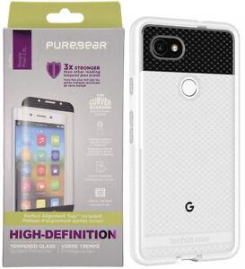 Tech21 White Clear EVO Check Case PureGear Tempered Glass for Google Pixel 2 XL