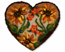 Autumn Floral Heart Shaped Latch Hook Rug Kit