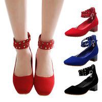 VANCY Womens Ladies Cap toe Strappy high heels mens Studded Pumps Plus Size