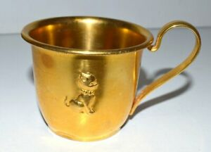 Vintage Silver Plated Gold Tone Cat/Boy/Pig Baby Cup - Selandia Denmark 860