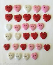 Heart Novelty Buttons Red White Pink  by Dress It Up Jesse James Buttons 3504