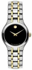 USED Ladies Movado Folio 18K Gold plate & SS watch - Black Dial - 606372