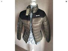 Bench Ladies Womens Size UK 10 Padded Zip Jacket Black & Green R1