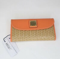 Dooney & Bourke Beacon Woven Continental Clutch Wallet Coral WBCNW0507 NWT